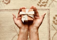 Person's Holds Brown Gift Box Stock Image
