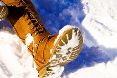 Person's Left Foot on Snowfield Stock Photos
