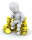 Person saß auf Münzen stock abbildung