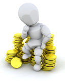 Person sat on coins. Person sat on a stack of gold coins Stock Images