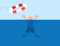 Drowning Water Saved. Person saved after almost drowning in water royalty free illustration