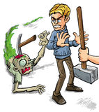 Try that again. Person saying Try That Again and crashing a pick onto the skull of a gruesome zombie leaving a trail of green slime as he tries to attack a man Royalty Free Stock Images