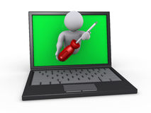 Person with screwdriver through laptop. 3d person holding a screwdriver is through screen of laptop Royalty Free Stock Photos