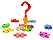 Person searchs right solution in puzzles Stock Photo