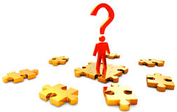 Person searchs right solution in puzzles Stock Images