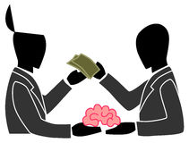 A person is selling his own brain to another perso Royalty Free Stock Images