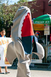 Person In Shark Costume Walks In Miami's Mango Strut Parade Royalty Free Stock Photo