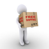 Person is shipping for free a carton box. Person is carrying a carton box with a free shipping label on it Royalty Free Stock Photos
