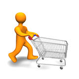 Person Shopping Cart 3D. 3d illustration looks a person with a shopping cart Stock Image