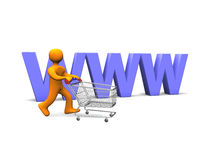 Person Shopping Cart 3D. 3d illustration looks a person with a shopping cart Stock Photography