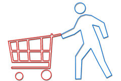 Person shopping with cart neon life series. Person shopping with cart depicted in a neon tube style illustration part of NEON LIFE SERIES stock illustration