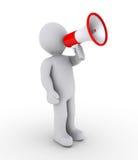 Person shouting through megaphone. 3d person shouting through megaphone Stock Images