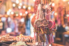 Person Showing Assorted Dream Catcher Keychain Lot in Tilt Shift Photography Royalty Free Stock Image