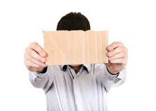 Person showing Blank Cardboard Stock Photos