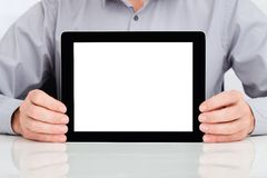 Person Showing Digital Tablet royalty free stock image