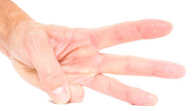 Person showing three fingers isolated Stock Image