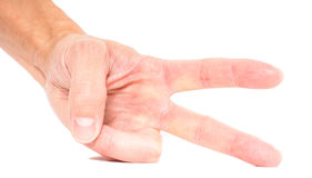 Person showing two fingers isolated. On white Royalty Free Stock Photo