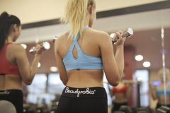 Person Showing Woman in Blue Sport Bra Carrying Gray Dumbbell royalty free stock photography