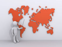 Person is showing a world map Royalty Free Stock Images