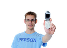 Person shows his new cellphone Stock Images
