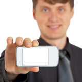 Person shows new gadget Royalty Free Stock Image