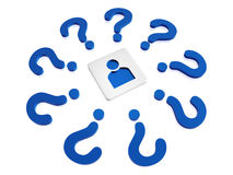 Person sign with blue question-marks. 3d person sign in block with blue question-marks in circle Royalty Free Stock Photos