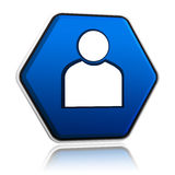 Person sign on blue button. Person sign on button, 3d blue hexagon banner like icon Stock Photography