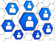Person signs in blue hexagons Stock Photos