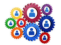 Person signs in colorful gearwheels. 3d colorful gearwheels with blue person signs royalty free illustration