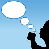 Person silhouette blows thought bubbles cloud vector illustration