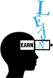 Person silhouette learn to earn education. Person learns to earn as knowledge adds earning power vector illustration