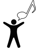 Person sings music in note speech bubble. A symbol person sings or talks music in a musical note speech bubble Royalty Free Stock Photography