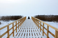 The person sits. On the embankment in the winter Stock Photos