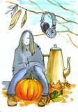 Autumn mood. girl - ghost. The person sits on a log. nearby pumpkin, teapot. From branches earphones and feathers hang down Royalty Free Stock Photo
