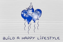 Person sitting on balloons (with sky fill), metaphor of a happy Stock Images