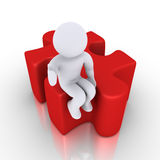 Person sitting on puzzle piece. 3d happy person is sitting on a puzzle piece Royalty Free Stock Photos