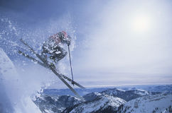 Person On Skis Jumping Over Slope Royalty Free Stock Photo