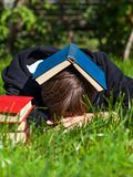 Person sleep with a Books royalty free stock image