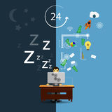 Person sleeping in office Stock Photos