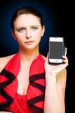 Person With Smart Mobile Phone And Blank Screen Stock Photos