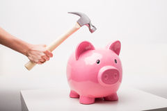 Person smashing piggy bank with hammer Royalty Free Stock Image