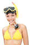 Person with snorkeling mask royalty free stock image