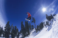 Person On Snowboard Jumping Midair. Low angle view of a person on snowboard jumping over snowed landscape Royalty Free Stock Photography