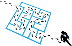Person solves business problem maze puzzle vector illustration