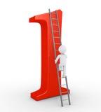 Person som överst klättrar för att vara av numret ett Royaltyfria Bilder