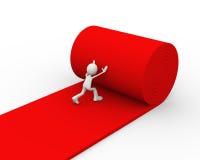 person som 3d rullar röd matta Arkivbild