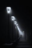 Person som går på den mörka gatan som är upplyst med streetlamps royaltyfri fotografi