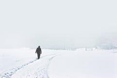Person som går på snöig vinterlandskap Royaltyfria Bilder