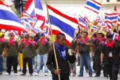person som protesterargata thailand Arkivbild