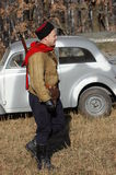 Person in Soviet WW2 military uniform Royalty Free Stock Image